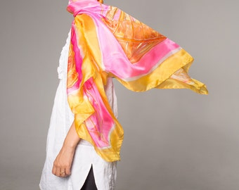 Jellyfish silk scarf hand painted. Silk shawl scarf. Hand painted silk scarf. Fluorescent Pink scarf. Painted silk scarf Bright Summer scarf