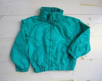 Vintage Teal Jacket . Children's Size 5/6 . Windbreaker with Hidden Hood . 1980's