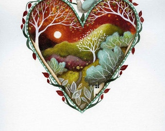 Heart art print. 'Rising Moon'.  By Amanda Clark. A beautiful and unique gift for friends and family.