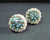 Vintage 1950s Sequin Earrings - Dark Metallic Silver - Nude to Blush Color - Pale Turquoise Blue - Pastel - Seed Beads