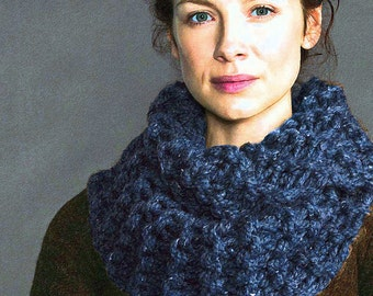 Hand Knit Claire Cowl Outlander Chunky Scarf Made to Order, 8 Colors, SuperWash Wool