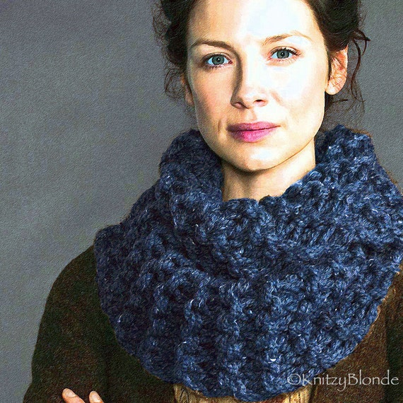 Knitting Pattern Outlander Cowl : Hand Knit Claire Cowl Outlander Chunky Scarf Made to Order 8