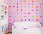 72 Sweet Confetti Hearts Wall Decals, Patterns and Solid, Removable and Reusable