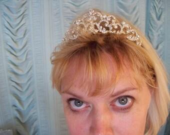 Magnificent Bridal rhinestone high tiara petite  tall crown wedding princess queen