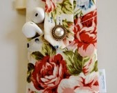 Rose iPhone 6 Case, Floral iPhone 6 plus wallet case, Galaxy S5 Case, Fabric Phone case, Floral iPhone 5s Case with Pocket - Rose Garden