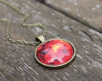 Planet Venus - Galaxy Solar System Glass Dome Necklace Pendant