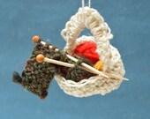 Christmas Tree Ornament - Yarn and Needles Basket - Gift for knitter - Miniature Knitting Basket