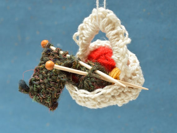 Christmas Tree Ornament Yarn And Needles Basket Gift For