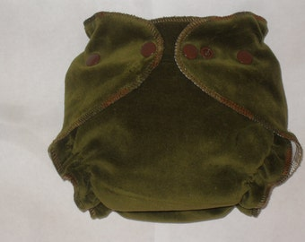 Forest Green  cotton velour/zorb fitted diaper