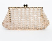 1950s Clear Light Pink Beaded Clutch