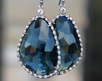 Gorgeous Sapphire Blue Crystals Framed with Pave' Crystals Dangling on Silver French Earringss