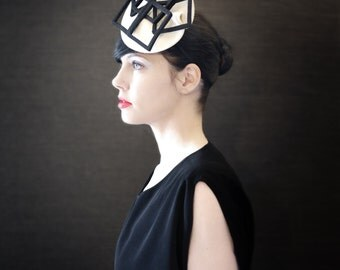 Cream Felt Fascinator Hat with Black Geometric Fan Accent - Fractal Series - Made to Order