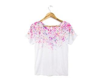"Micro Confetti Tee - Original ""Splash Dyed"" Hand Painted Relaxed Fit Flowy Scoop Neck T-shirt in White Neon Rainbow - Women's Size S-2XL"