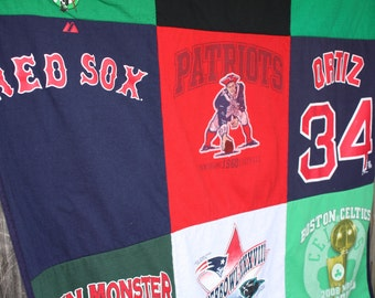 Sale Boston Sports Teams T Shirt Quilt Blanket Red