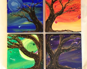 Celestial Winds, set of 4 original acrylic paintings, 8 x 8