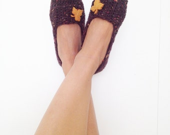 Brown Tweed with Natural Harvest Fall Leaves Button Crochet Womens Slippers, Ballet Flats, House Shoes