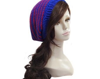 Hand Knit Slouchy Hat - Nautical -  Royal Blue and Red Striped