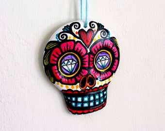 Sugar Skull Ornament Painted Day of the Dead Folk Art Pink Flower Red Heart Purple Eyes Blue Tattoo - Ceramic - large - READY TO SHIP