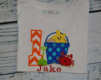 PERSONALIZED Beach Birthday Shirt  Monogrammed 1, 2, 3, 4, 5, birthday Pool Party