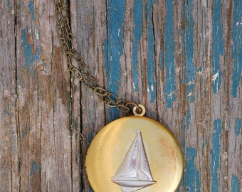 Sailboat Locket Pendant, Boat Necklace, Nautical Pendant, Gift for Her, Rustic Sailboat Jewelry, Gift for Him, Sailing, Summer Pendant