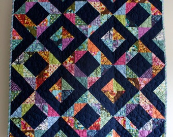 geometric baby girl quilt // rainbow diamond quilt // navy blue bubbles // READY TO SHIP