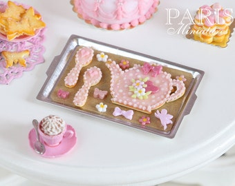 Pink Teatime Cookies on Baking Sheet (Teapot, Spoons) - Miniature Food (Pink Collection 2014)