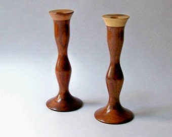 Vintage Turned Wood Candle Holders