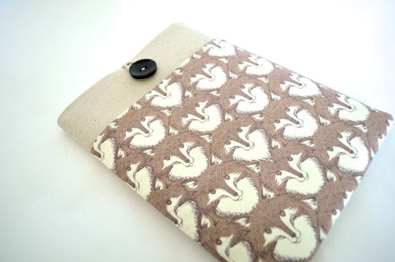 SALE - 13 inch MacBook Case or Custom Size Notebook Case, Laptop Sleeve Padded Cover with Pocket - Fox