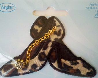 See shop announcement for 60% off code - Leopard High Heel Patch Applique - Wrights - NEW - Iron On - YOU PICK Quantity 1 - 16