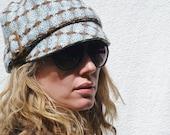 Womens Hat - Blue/brown tweed cap