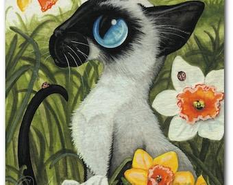 Siamese Cat Lady Bugs Daffodils - Art Prints by Bihrle ck342