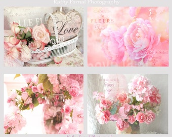Pink Flower Prints, Roses and Peonies Print Set, Shabby Chic Decor, Flower Prints, Dreamy Pink Peonies Roses Print Set, Shabby Chic Wall Art