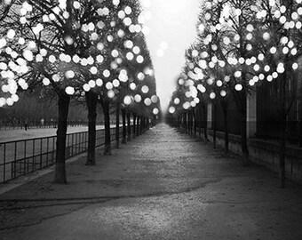 Paris Photography, Paris Black and White Photography, Paris Fairy Lights Tuileries, Paris Black White Prints, Paris Tuileries Night Lights