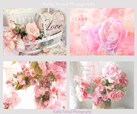 Pink Flower Photos, Roses Peonies Print Set, Shabby Chic Decor, Cherry ...