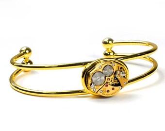 Steampunk Vintage Gold Bulova Watch Movement Bracelet