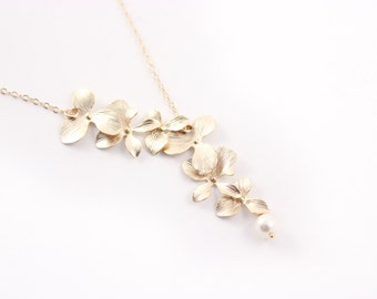 Bridal Jewelry Double Orchid Gold Wedding Necklace