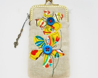 iPhone Case / Glasses Case -- Yellow and Blue flowers Free Motion Embroidery( iPhone 7, iPhone 7 Plus, Samsung Galaxy S7 etc. )