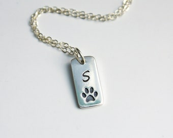 Silver Dog Paw Pawprint Initial Necklace for Dog or Cat Lover