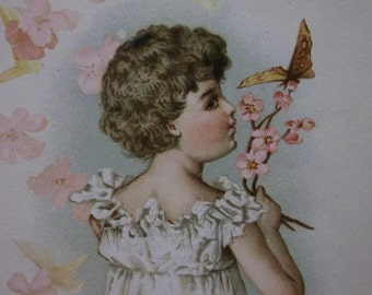 Pretty Girl-Frilly Dress-Butterfly-Flowers-Victorian Card Scrap-1800's