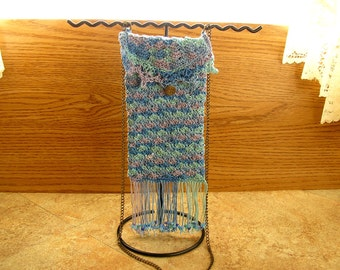 "Cell Phone Mini Bag-  The Blues Crochet  cell phone bag with brass button  6"" x 3 1/2"" with a 22""  chain strap, and beaded fringe"