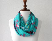 FREE SHIPPING Floral Print Infinity Scarf - Loop Scarf - Circle Scarf - Cowl Scarf - Soft and Lightweight