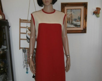 Womens  Sleeveless Dress Vintage 70s Mad Men Style Sheath Dress Polyester