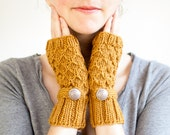 Strap and Button Hand Knit Wool Fingerless Mittens in Mustard Yellow, Honey Mittens (A03)
