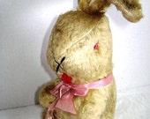 RESERVED For RABBIT RESCUE Vintage Bunny Rabbit, mohair straw stuffed Squeaker Easter Bunny, Childhood Easter, Love Worn Velveteen Rabbit