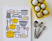 CHOOSE your color, Kitchen Art, Kitchen Decor, utensils, Cooking, I love to cook, pots and pans, 8 x 10 Art Print