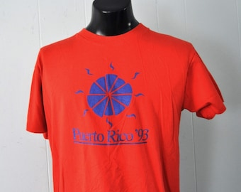 Vintage Tshirt Puerto Rico Red Bright Surf Sunset Design 90s Super Soft n Thin MEDIUM