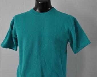 Rare Sweatshirt Tee Aqua Blue Teal Top Sports 80s Workout Shirt TShirt Gym Ladies Large Medium