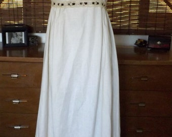 Vintage 70s Cream Linen and lace Empire waist boho hostess maxi dress M Free domestic shipping