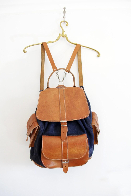 vintage backpack navy and brown leather rucksack. Black Bedroom Furniture Sets. Home Design Ideas