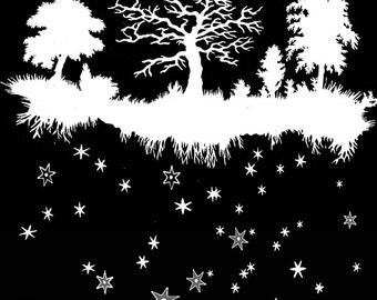 Fairy Tale Forest Art Print - Elegant Paper Cut - Night Sky - Trees Art - Stars Constellations Art Print - Vintage Papercut Illustration